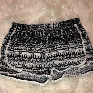 Black and white flow shorts